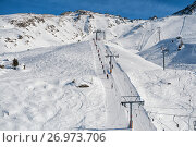 Купить «Ski resort in the Swiss Alps. Skiers ascend on rope tow up», фото № 26973706, снято 4 февраля 2010 г. (c) Юлия Бабкина / Фотобанк Лори