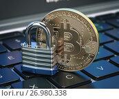 Купить «Cryptocurrency bitcoin coin and padlock lock on computer keyboard. Internet security and protection concept.», фото № 26980338, снято 23 марта 2019 г. (c) Maksym Yemelyanov / Фотобанк Лори