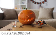 Купить «jack-o-lantern and halloween decorations at home», видеоролик № 26982094, снято 20 сентября 2017 г. (c) Syda Productions / Фотобанк Лори