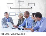 Купить «Group meeting with mind map», фото № 26982338, снято 21 сентября 2019 г. (c) Wavebreak Media / Фотобанк Лори