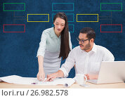 Купить «Couple meeting with mind map and computer», фото № 26982578, снято 18 июля 2018 г. (c) Wavebreak Media / Фотобанк Лори
