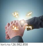 Купить «Composite image of businessman checking his smart watch», фото № 26982858, снято 21 сентября 2019 г. (c) Wavebreak Media / Фотобанк Лори