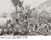 Купить «The Battle of the Delta, a sea battle between Egypt and the Sea Peoples, c. 1175 BC when the Egyptian pharaoh Ramesses III repulsed a major sea invasion...», фото № 26987770, снято 16 октября 2018 г. (c) age Fotostock / Фотобанк Лори