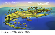 Купить «Digital painting of the small pirate island with boats and palms.», фото № 26999706, снято 18 марта 2018 г. (c) easy Fotostock / Фотобанк Лори
