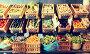 vegetables and fruits in wicker baskets in greengrocery, фото № 27003726, снято 26 сентября 2017 г. (c) Татьяна Яцевич / Фотобанк Лори