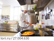 Купить «male chef cooking food at restaurant kitchen», фото № 27004630, снято 2 апреля 2017 г. (c) Syda Productions / Фотобанк Лори