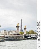 Купить «Фрагмент моста Александра III (фр. Pont Alexandre III) и Эйфелева башня. Париж. Франция», фото № 27010502, снято 16 сентября 2017 г. (c) E. O. / Фотобанк Лори