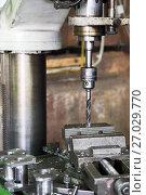 Купить «Drilling machine. The drill bit is installed in the drill chuck.», фото № 27029770, снято 15 июня 2017 г. (c) Андрей Радченко / Фотобанк Лори