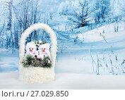 Christmas decor - snowmans. Стоковое фото, фотограф ElenArt / Фотобанк Лори