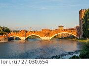 Мост Скалигеров через реку Адидже. Верона, Италия (2017 год). Стоковое фото, фотограф Сергей Афанасьев / Фотобанк Лори