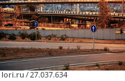 Купить «View of city highway in dusk with trace of blurred red automobile headlights beams», видеоролик № 27037634, снято 11 августа 2017 г. (c) Яков Филимонов / Фотобанк Лори
