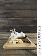 Купить «Garlics, rosemary and knife on chopping board», фото № 27038202, снято 5 июня 2017 г. (c) Wavebreak Media / Фотобанк Лори