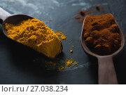 Купить «Turmeric powder and chili powder on wooden spoon», фото № 27038234, снято 5 июня 2017 г. (c) Wavebreak Media / Фотобанк Лори