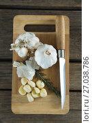 Купить «Garlics, rosemary and knife on chopping board», фото № 27038786, снято 5 июня 2017 г. (c) Wavebreak Media / Фотобанк Лори