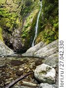 Купить «Clear pool at base of Niagara Falls - Goldstream Provincial Park - Victoria, Vancouver Island, British Columbia, Canada.», фото № 27042330, снято 7 августа 2017 г. (c) age Fotostock / Фотобанк Лори
