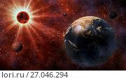 Купить «Planet Earth, The Sun, The Moon and Planets In Space.», фото № 27046294, снято 15 июля 2020 г. (c) easy Fotostock / Фотобанк Лори