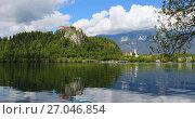 panorama of Bled lake in Slovenia (2017 год). Стоковое фото, фотограф Михаил Коханчиков / Фотобанк Лори