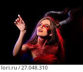 Купить «Mad satan woman aggressive cry in hell . Witch reincarnation creature.», фото № 27048310, снято 23 марта 2017 г. (c) Gennadiy Poznyakov / Фотобанк Лори