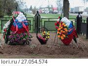 Купить «Мемориал Второй ударной армии в деревне Мясной Бор, свежие могилы», эксклюзивное фото № 27054574, снято 25 мая 2017 г. (c) Дмитрий Неумоин / Фотобанк Лори