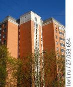 Купить «Четырнадцатиэтажный четырёхподъездный панельный жилой дом серии П-44Т, построен в 2004 году. 13-я Парковая улица, 42. Район Северное Измайлово. Город Москва», эксклюзивное фото № 27058654, снято 14 мая 2017 г. (c) lana1501 / Фотобанк Лори