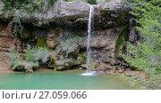 Купить «El Torrent de la Cabana small mountain stream with crystal clear water», видеоролик № 27059066, снято 16 мая 2017 г. (c) Яков Филимонов / Фотобанк Лори