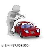 man studies red car on white background. Isolated 3d illustration. Стоковая иллюстрация, иллюстратор Ильин Сергей / Фотобанк Лори