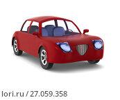 Купить «Red car on white background. Isolated 3D illustration», иллюстрация № 27059358 (c) Ильин Сергей / Фотобанк Лори