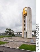Купить «Saint-Petersburg. The Carillon at the Krestovsky island on the background of the WHSD flyover», фото № 27060534, снято 5 октября 2017 г. (c) Юлия Бабкина / Фотобанк Лори
