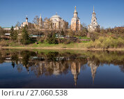 Купить «Boris and Gleb monastery is reflected in the water of the Tvertsa River. Torzhok, Russia», фото № 27060538, снято 2 мая 2016 г. (c) Юлия Бабкина / Фотобанк Лори