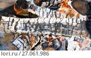 Купить «Closeup of hot burning firewood in campfire. Smoldering timbers», видеоролик № 27061986, снято 8 августа 2017 г. (c) FotograFF / Фотобанк Лори
