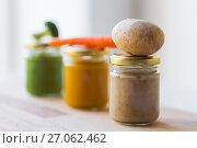 Купить «vegetable puree or baby food in glass jars», фото № 27062462, снято 21 февраля 2017 г. (c) Syda Productions / Фотобанк Лори