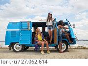 Купить «smiling happy young hippie friends at minivan car», фото № 27062614, снято 27 августа 2015 г. (c) Syda Productions / Фотобанк Лори