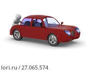Купить «man pushes broken car. Isolated 3D illustration», иллюстрация № 27065574 (c) Ильин Сергей / Фотобанк Лори