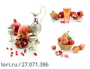 Купить «Collage. Grenades in a wicker basket, pomegranate juice and liqueur on a white background closeup», фото № 27071386, снято 14 июля 2020 г. (c) Татьяна Ляпи / Фотобанк Лори