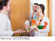 Купить «Professional cleaners with equipment», фото № 27074062, снято 27 января 2020 г. (c) Яков Филимонов / Фотобанк Лори