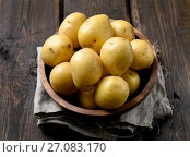 Купить «Raw potatoes in bowl», фото № 27083170, снято 30 сентября 2017 г. (c) Татьяна Волгутова / Фотобанк Лори