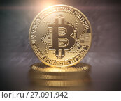Купить «Bitcoin cryptocurrency golden coin background.», фото № 27091942, снято 1 января 2019 г. (c) Maksym Yemelyanov / Фотобанк Лори