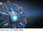 Купить «Circuit board system chip with core processor. Spherical computer motherboard with CPU. Futuristic computer technology background.», фото № 27092002, снято 24 мая 2018 г. (c) Maksym Yemelyanov / Фотобанк Лори