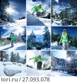 Купить «Snowboarder theme collage composed of a few different images», фото № 27093078, снято 25 августа 2019 г. (c) Дмитрий Эрслер / Фотобанк Лори