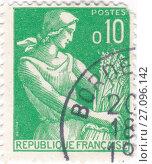 Жатва. Почтовая марка Франции 1959 года. Стоковая иллюстрация, иллюстратор Илюхина Наталья / Фотобанк Лори