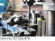 Купить «Drilling machine. The drill bit is installed in the drill chuck.», фото № 27103474, снято 15 июня 2017 г. (c) Андрей Радченко / Фотобанк Лори