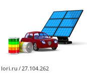 Купить «Red electro car on white background. Isolated 3D illustration», иллюстрация № 27104262 (c) Ильин Сергей / Фотобанк Лори