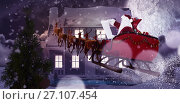 Купить «Composite image of santa claus riding on sled during christmas», фото № 27107454, снято 18 июня 2019 г. (c) Wavebreak Media / Фотобанк Лори