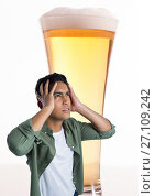Купить «Man stressed and anxious with pint of beer», фото № 27109242, снято 30 мая 2020 г. (c) Wavebreak Media / Фотобанк Лори