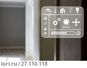 Купить «smart home interface at home», фото № 27110118, снято 17 июля 2018 г. (c) Wavebreak Media / Фотобанк Лори