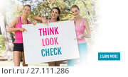 Купить «Learn more button with Think Look Check text and pink breast cancer awareness women holding card», фото № 27111286, снято 22 октября 2019 г. (c) Wavebreak Media / Фотобанк Лори