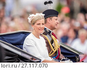 Купить «The Queen and other members of the Royal Family attend Trooping the Colour: The Queen's Birthday Parade Featuring: Sophie the Countess of Wessex, Prince...», фото № 27117070, снято 11 июня 2016 г. (c) age Fotostock / Фотобанк Лори