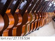 Купить «line of new acoustic guitars in store», фото № 27119534, снято 29 марта 2017 г. (c) Татьяна Яцевич / Фотобанк Лори