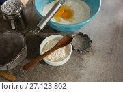 Купить «Gingerbread cookies ingredients with various utensils on table», фото № 27123802, снято 5 мая 2017 г. (c) Wavebreak Media / Фотобанк Лори