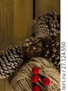 Купить «Directly above shot of pine cones with thread spool with push pin», фото № 27124550, снято 8 июня 2017 г. (c) Wavebreak Media / Фотобанк Лори